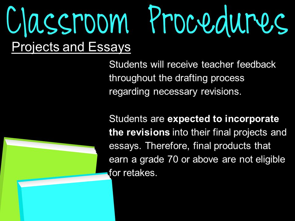 Projects and Essays Students will receive teacher feedback throughout the drafting process regarding necessary revisions.