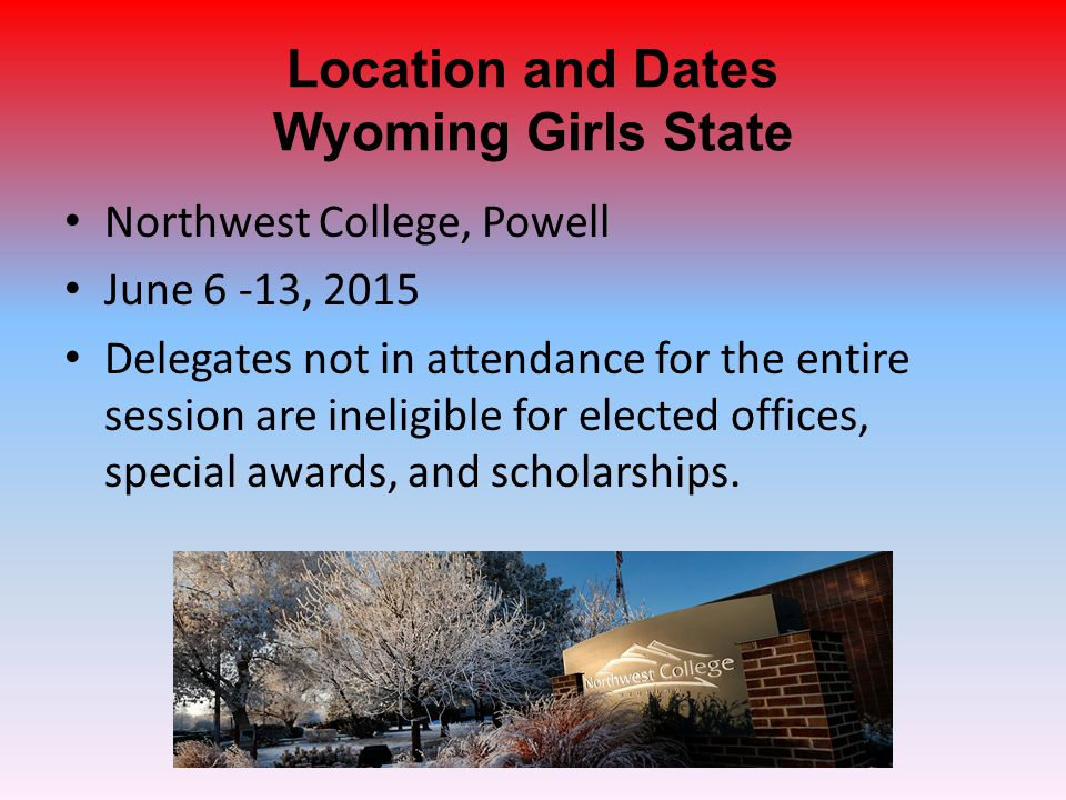 Items Due at Girls State Form #20 – Wyoming Girls State Delegate Checklist.