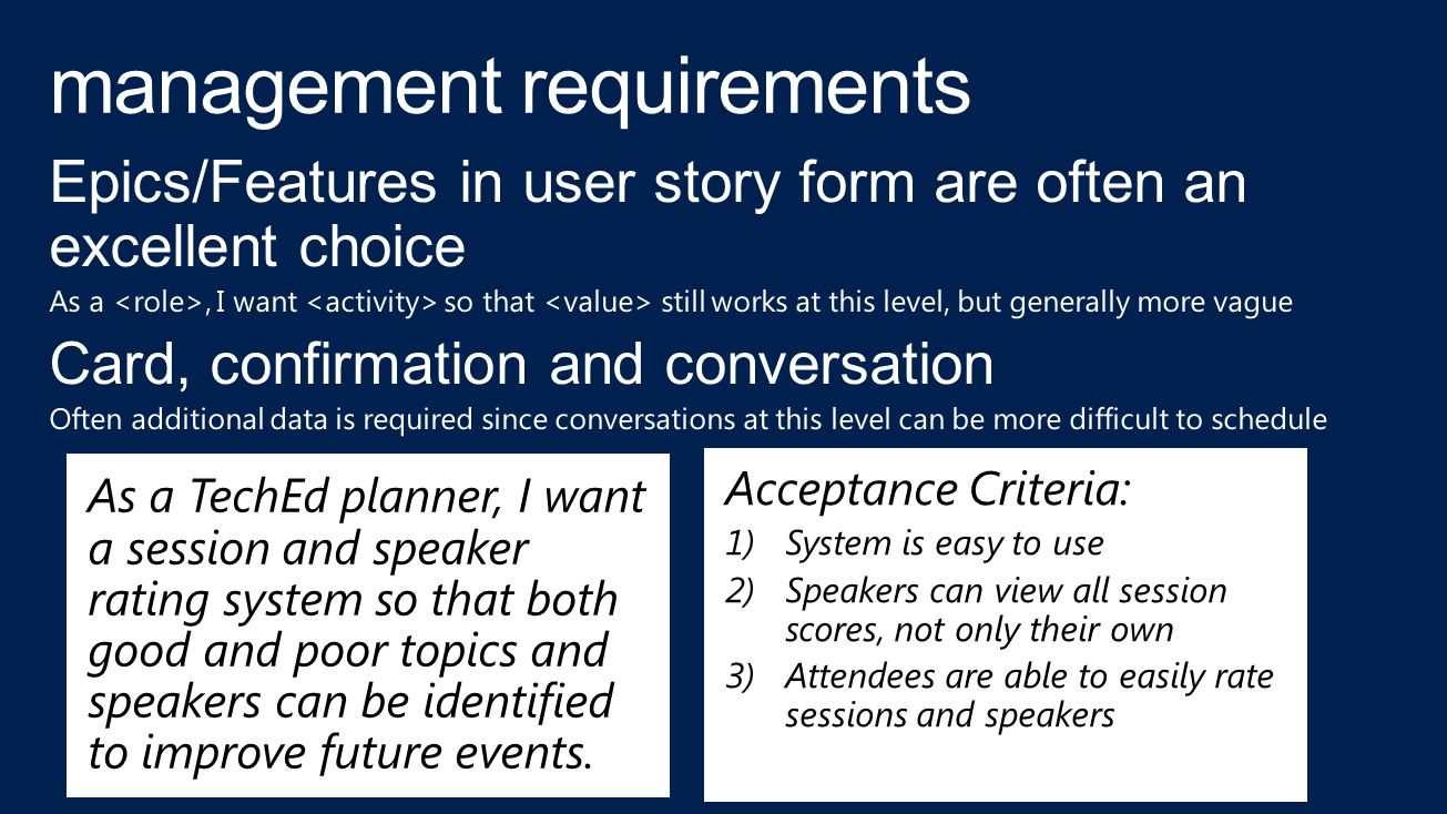 As a TechEd planner, I want a session and speaker rating system so that both good and poor topics and speakers can be identified to improve future events.