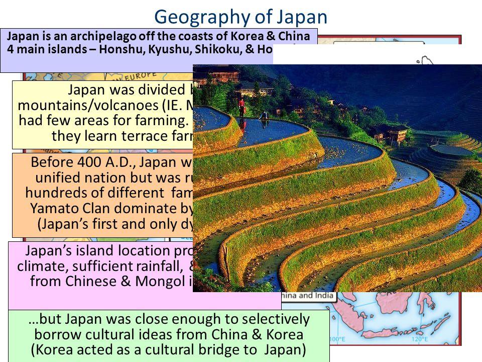 Geography of Japan Japan is an archipelago off the coasts of Korea & China 4 main islands – Honshu, Kyushu, Shikoku, & Hokkaido Japan was divided by m