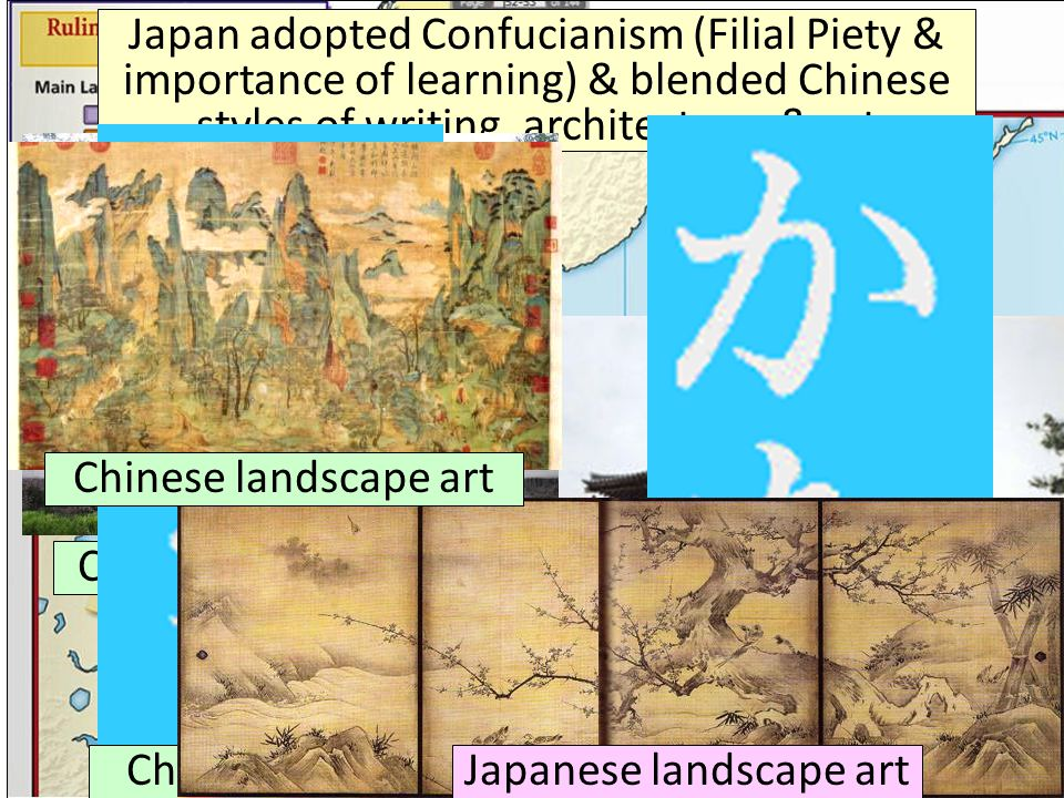 Japan adopted Confucianism (Filial Piety & importance of learning) & blended Chinese styles of writing, architecture, & art Chinese architecture Japan