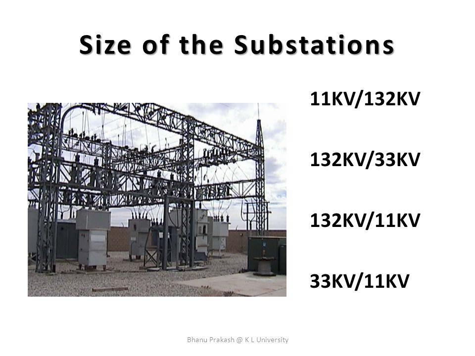 Size of the Substations 11KV/132KV 132KV/33KV 132KV/11KV 33KV/11KV Bhanu Prakash @ K L University