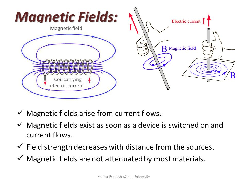 Magnetic Fields: Magnetic fields arise from current flows. Magnetic fields exist as soon as a device is switched on and current flows. Field strength