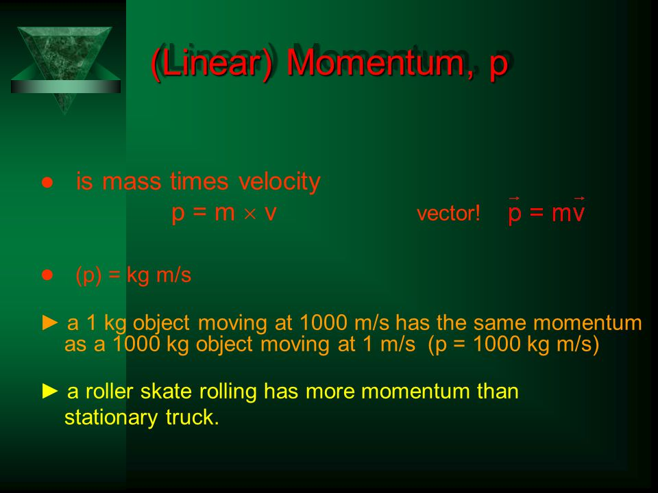 (Linear) Momentum, p ● is mass times velocity p = m  v vector.