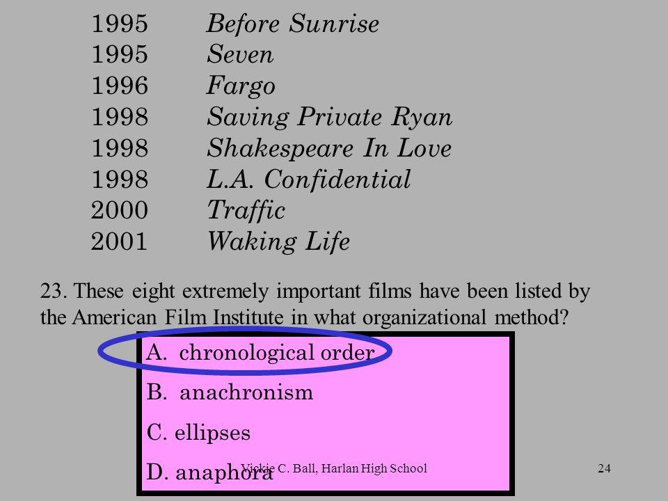 1995 Before Sunrise 1995 Seven 1996 Fargo 1998 Saving Private Ryan 1998 Shakespeare In Love 1998 L.A.