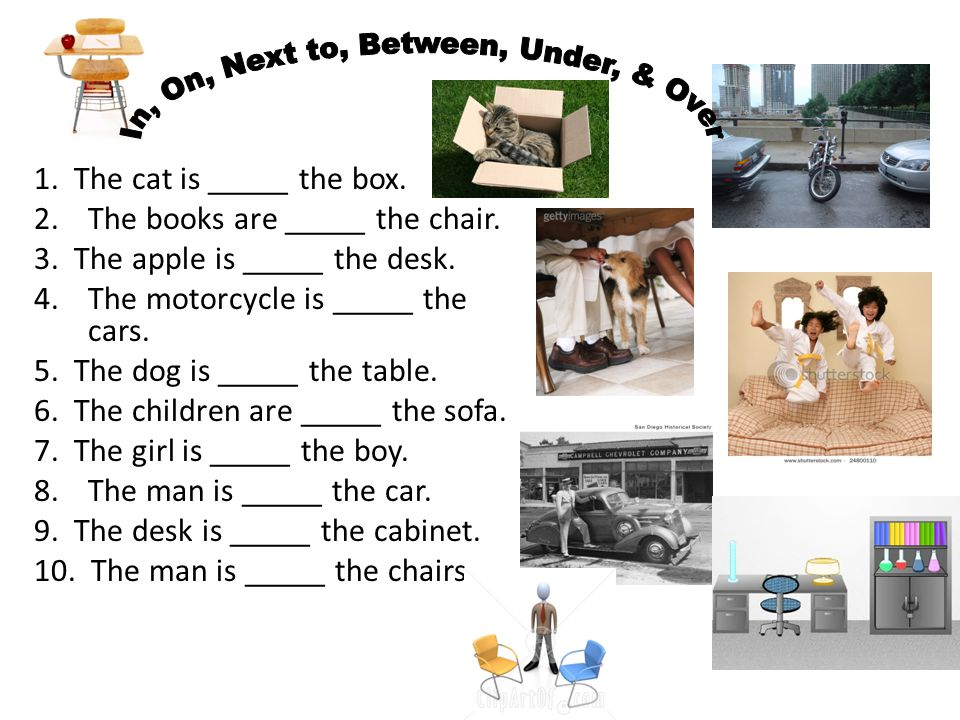 1. The cat is _____ the box. 2.The books are _____ the chair. 3. The apple is _____ the desk. 4.The motorcycle is _____ the cars. 5. The dog is _____