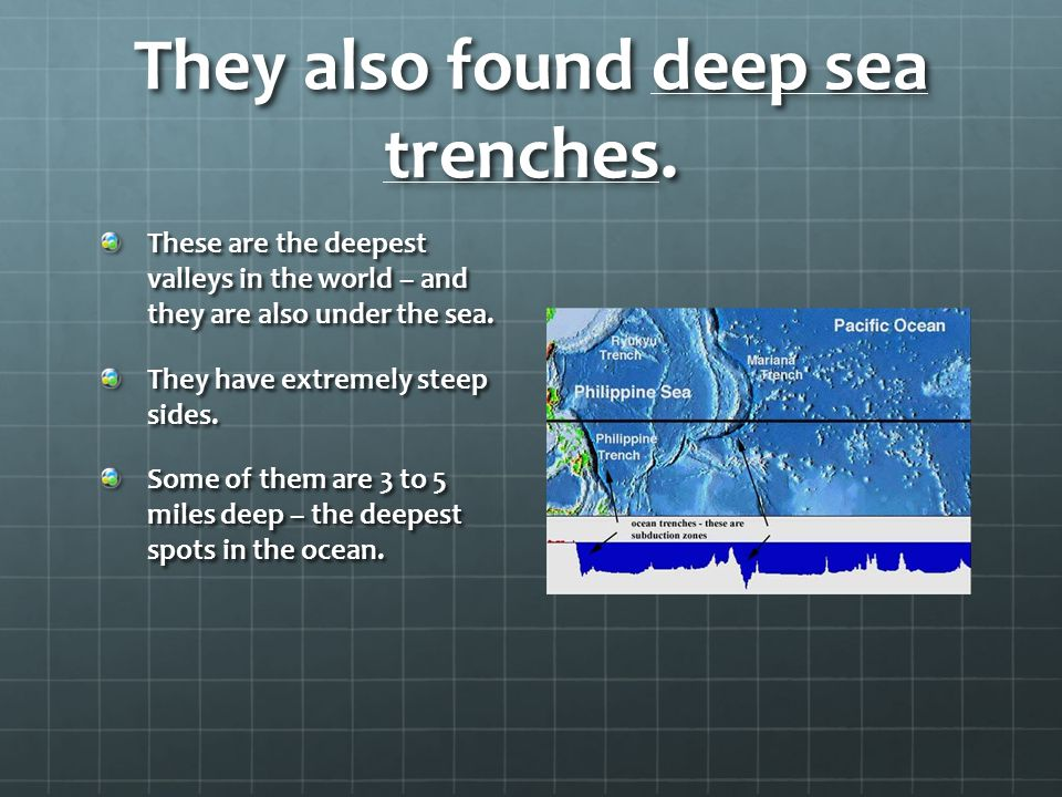 They also found deep sea trenches. These are the deepest valleys in the world – and they are also under the sea. They have extremely steep sides. Some
