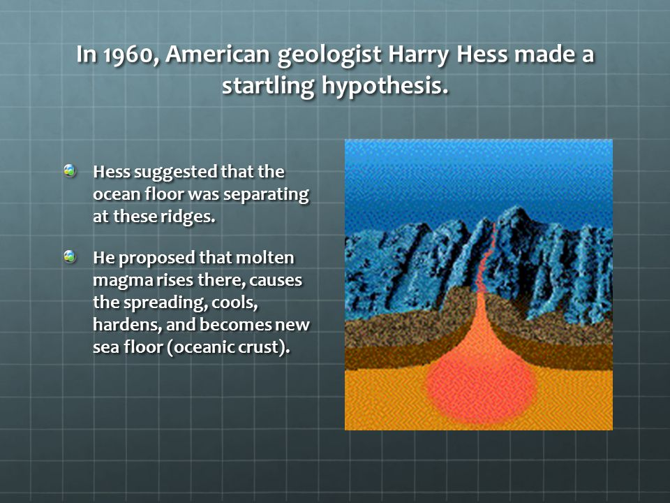 In 1960, American geologist Harry Hess made a startling hypothesis. Hess suggested that the ocean floor was separating at these ridges. He proposed th
