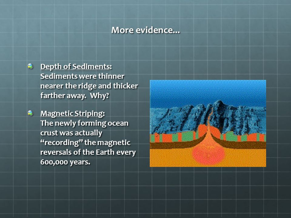 More evidence... Depth of Sediments: Sediments were thinner nearer the ridge and thicker farther away. Why? Magnetic Striping: The newly forming ocean
