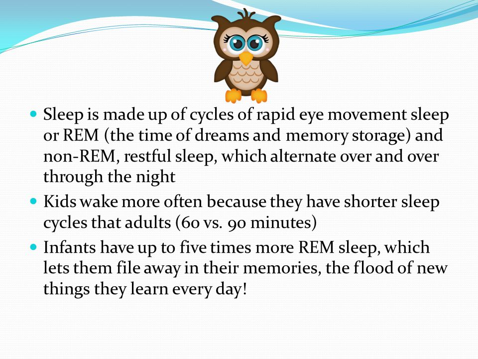 Sleep is made up of cycles of rapid eye movement sleep or REM (the time of dreams and memory storage) and non-REM, restful sleep, which alternate over