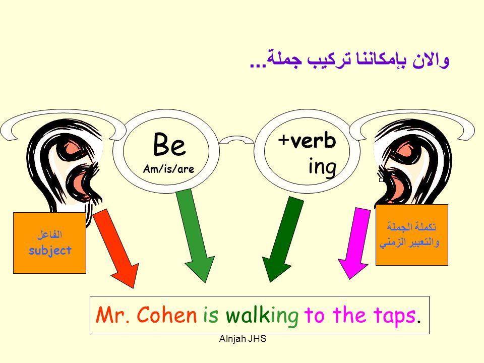 verb+ ing تكملة الجملة والتعبير الزمني Mr. Cohen is walking to the taps.