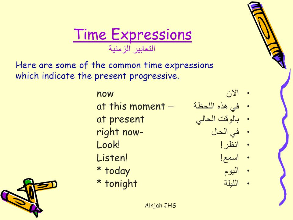 Time Expressions التعابير الزمنية now at this moment – at present right now- Look.