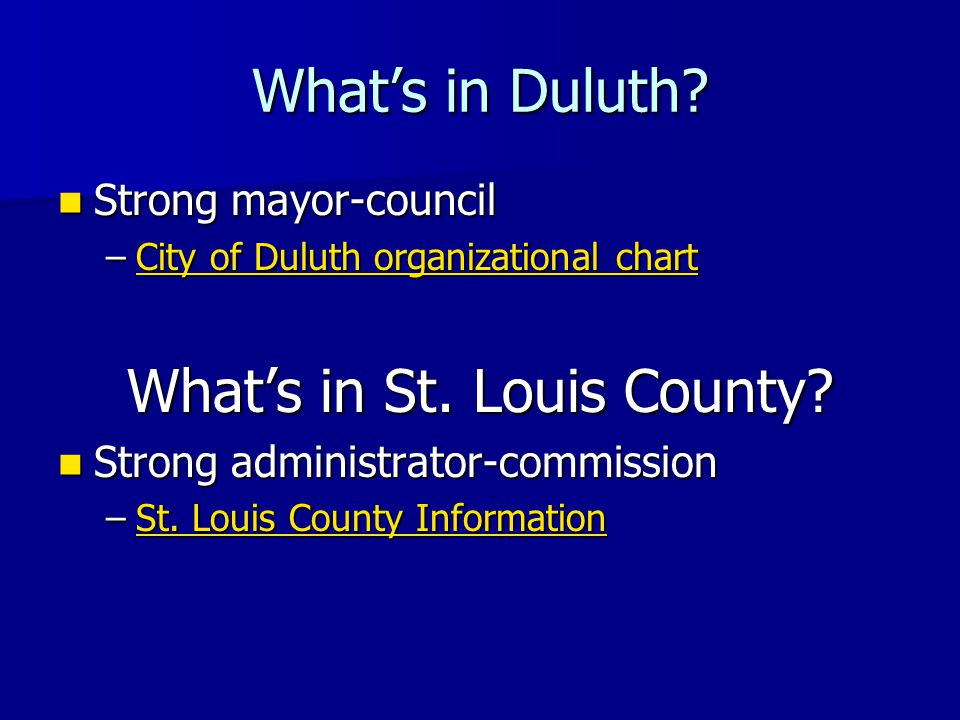 What's in Duluth.