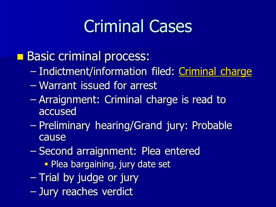 Criminal Cases Basic criminal process: Basic criminal process: –Indictment/information filed: Criminal charge Criminal chargeCriminal charge –Warrant issued for arrest –Arraignment: Criminal charge is read to accused –Preliminary hearing/Grand jury: Probable cause –Second arraignment: Plea entered  Plea bargaining, jury date set –Trial by judge or jury –Jury reaches verdict