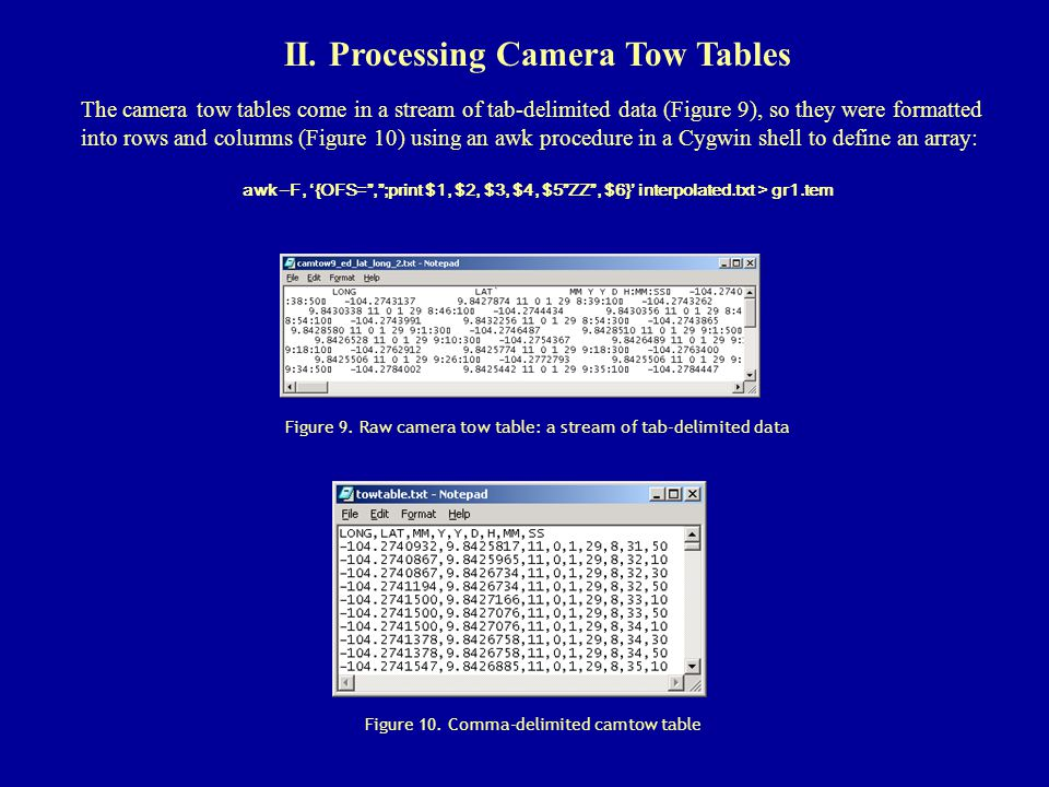 II. Processing Camera Tow Tables The camera tow tables come in a stream of tab-delimited data (Figure 9), so they were formatted into rows and columns