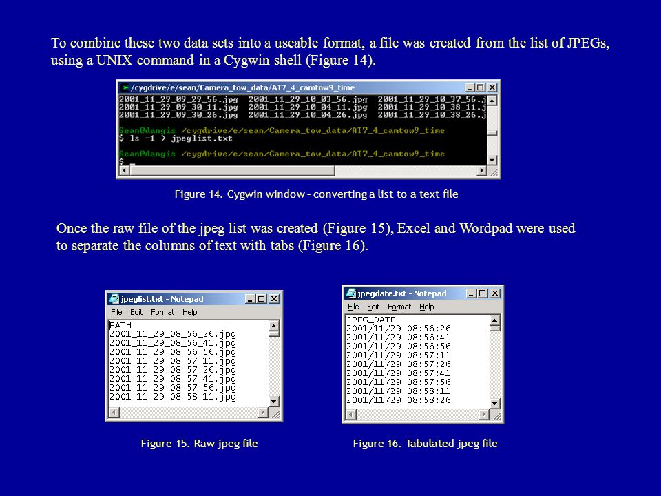 To combine these two data sets into a useable format, a file was created from the list of JPEGs, using a UNIX command in a Cygwin shell (Figure 14). F