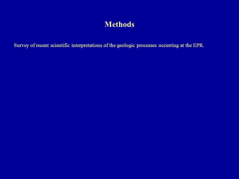 Survey of recent scientific interpretations of the geologic processes occurring at the EPR. Methods
