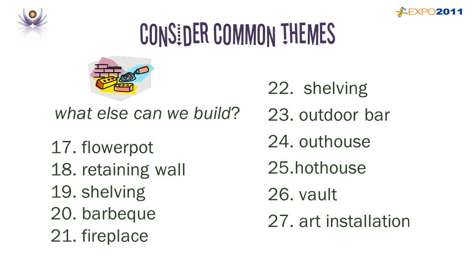 Consider common themes what else can we build. 17.