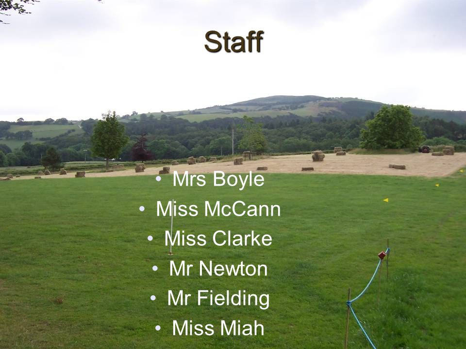 Staff Mrs Boyle Miss McCann Miss Clarke Mr Newton Mr Fielding Miss Miah