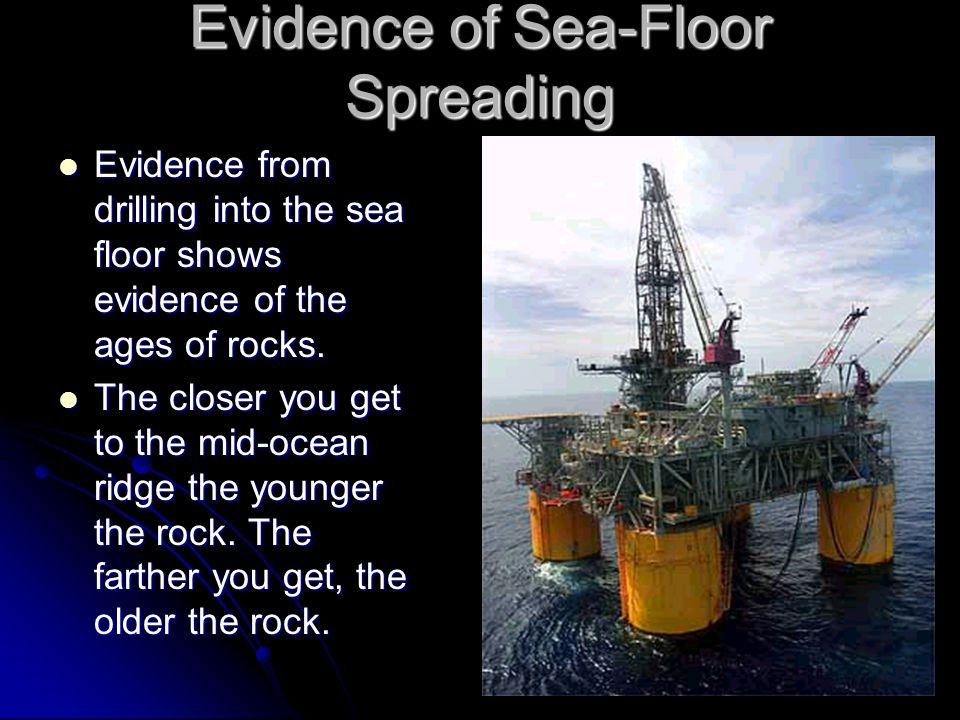 Evidence of Sea-Floor Spreading Evidence from drilling into the sea floor shows evidence of the ages of rocks. Evidence from drilling into the sea flo