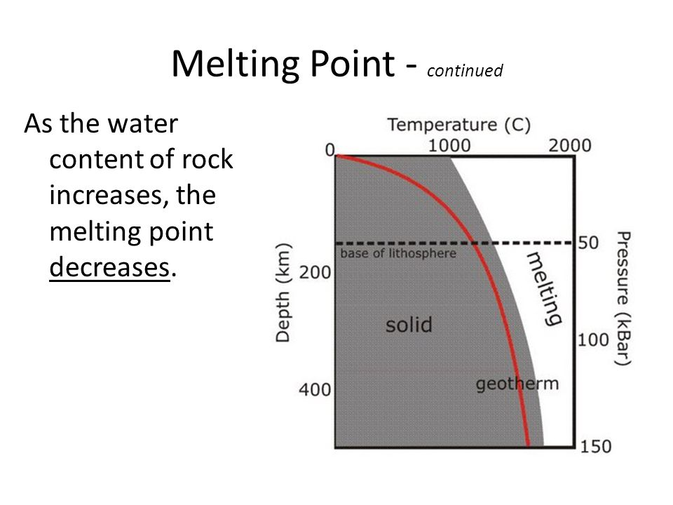 Melting Point - continued As the water content of rock increases, the melting point decreases.