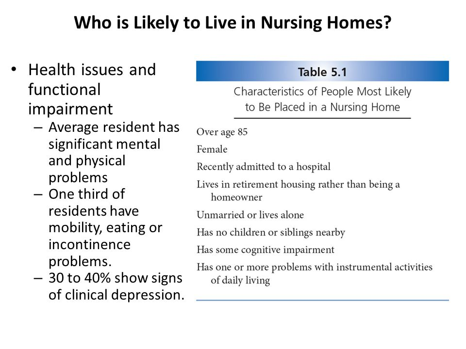 Health issues and functional impairment – Average resident has significant mental and physical problems – One third of residents have mobility, eating