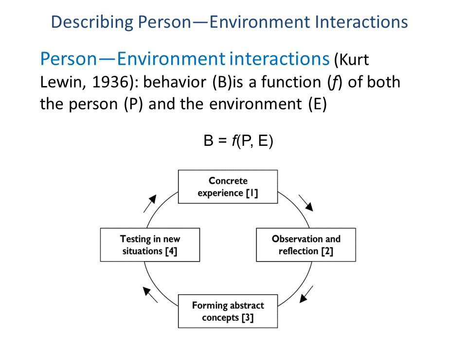 Person—Environment interactions (Kurt Lewin, 1936): behavior (B)is a function (f) of both the person (P) and the environment (E) B = f(P, E) Describing Person—Environment Interactions