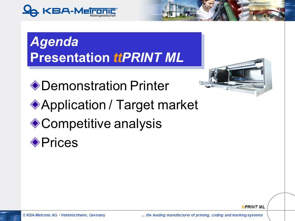 © KBA-Metronic AG  Veitshöchheim, Germany... the leading manufacturer of printing, coding and marking systems Agenda Presentation ttPRINT ML Demonstr