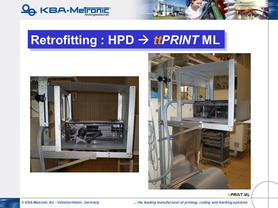 © KBA-Metronic AG  Veitshöchheim, Germany... the leading manufacturer of printing, coding and marking systems Retrofitting : HPD  ttPRINT ML ttPRINT