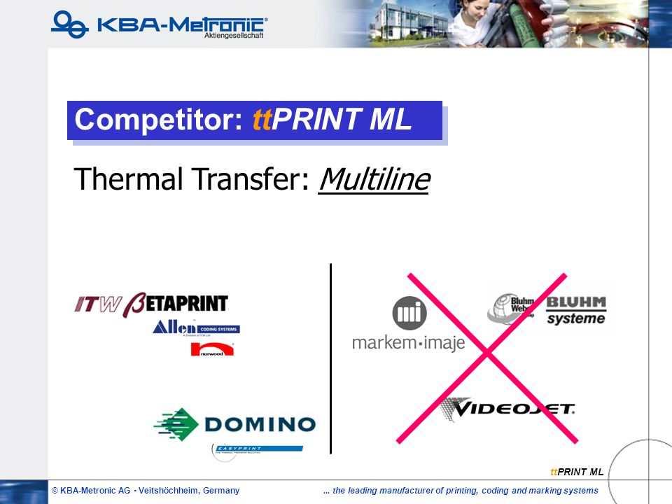 © KBA-Metronic AG  Veitshöchheim, Germany... the leading manufacturer of printing, coding and marking systems Competitor: ttPRINT ML Thermal Transfer