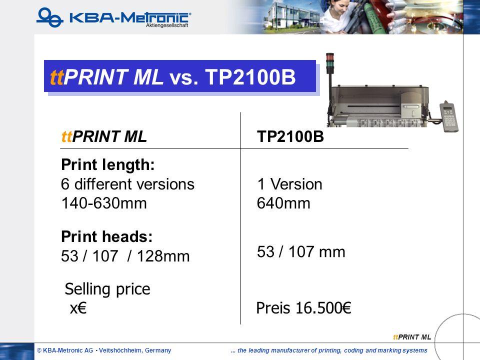 © KBA-Metronic AG  Veitshöchheim, Germany... the leading manufacturer of printing, coding and marking systems ttPRINT ML vs. TP2100B ttPRINT MLTP2100