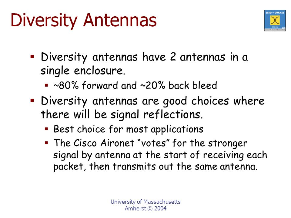 University of Massachusetts Amherst © 2004 Diversity Antennas  Diversity antennas have 2 antennas in a single enclosure.
