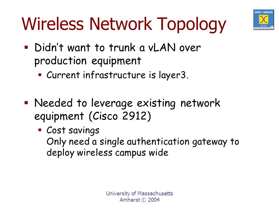 University of Massachusetts Amherst © 2004 Wireless Network Topology  Didn't want to trunk a vLAN over production equipment  Current infrastructure is layer3.