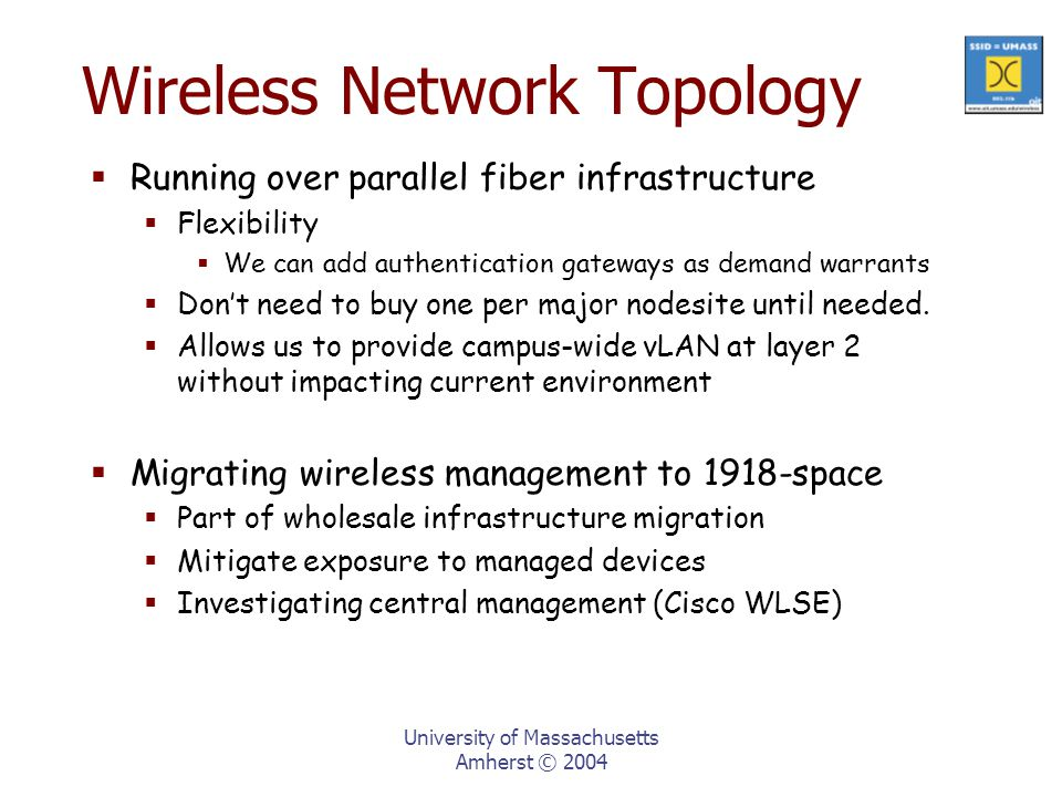 University of Massachusetts Amherst © 2004 Wireless Network Topology  Running over parallel fiber infrastructure  Flexibility  We can add authentication gateways as demand warrants  Don't need to buy one per major nodesite until needed.