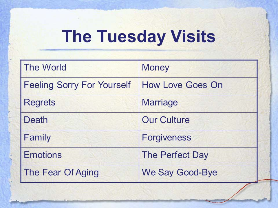 The Tuesday Visits The WorldMoney Feeling Sorry For YourselfHow Love Goes On RegretsMarriage DeathOur Culture FamilyForgiveness EmotionsThe Perfect Day The Fear Of AgingWe Say Good-Bye