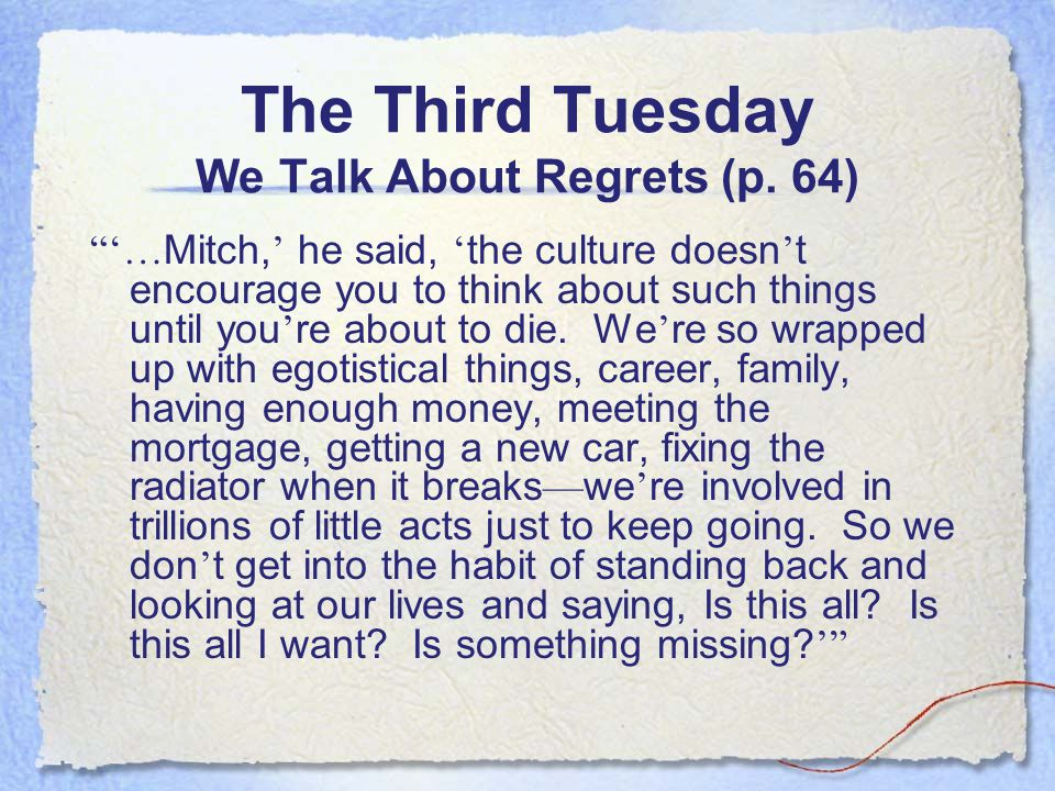 The Third Tuesday We Talk About Regrets (p.