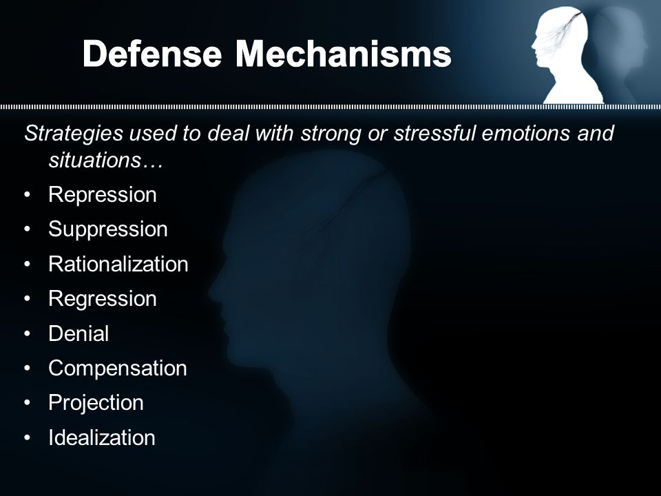 Strategies used to deal with strong or stressful emotions and situations… Repression Suppression Rationalization Regression Denial Compensation Projection Idealization