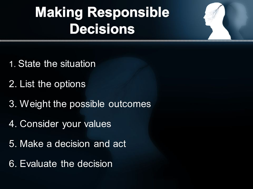 1. State the situation 2. List the options 3. Weight the possible outcomes 4.