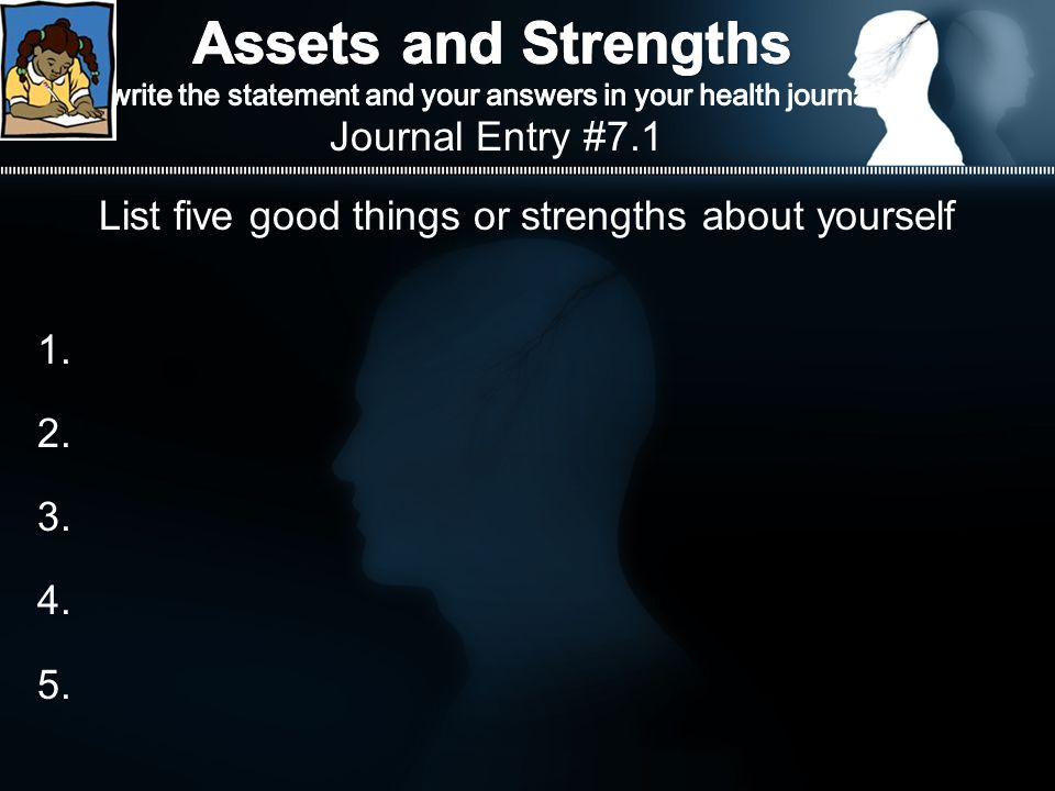 List five good things or strengths about yourself 1. 2. 3. 4. 5. Journal Entry #7.1