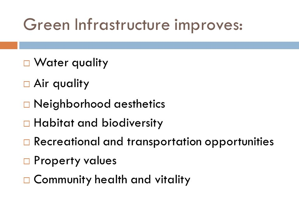 Green Infrastructure improves:  Water quality  Air quality  Neighborhood aesthetics  Habitat and biodiversity  Recreational and transportation opportunities  Property values  Community health and vitality