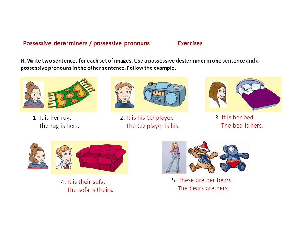 Possessive determiners / possessive pronouns Exercises 2.