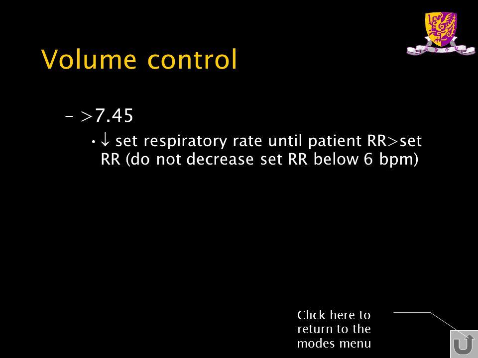 Volume control –>7.45  set respiratory rate until patient RR>set RR (do not decrease set RR below 6 bpm) Click here to return to the modes menu