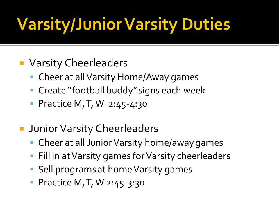 """ Varsity Cheerleaders  Cheer at all Varsity Home/Away games  Create """"football buddy"""" signs each week  Practice M, T, W 2:45-4:30  Junior Varsity"""