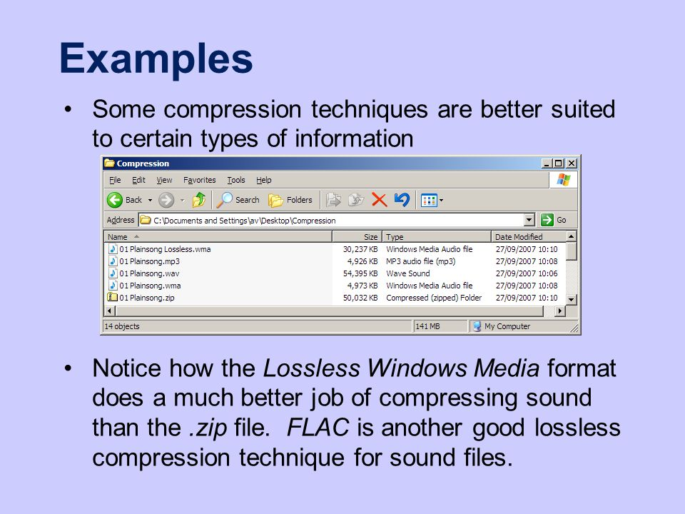 Examples Some compression techniques are better suited to certain types of information Notice how the Lossless Windows Media format does a much better job of compressing sound than the.zip file.