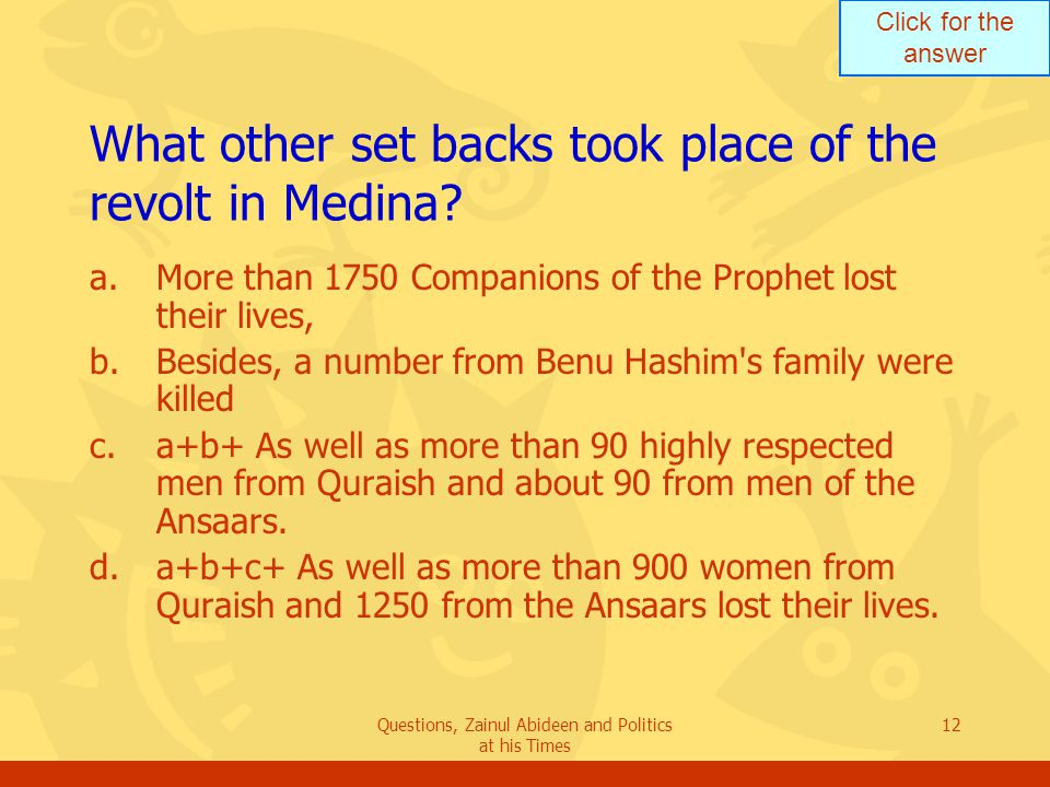 Click for the answer Questions, Zainul Abideen and Politics at his Times 12 What other set backs took place of the revolt in Medina? a.More than 1750