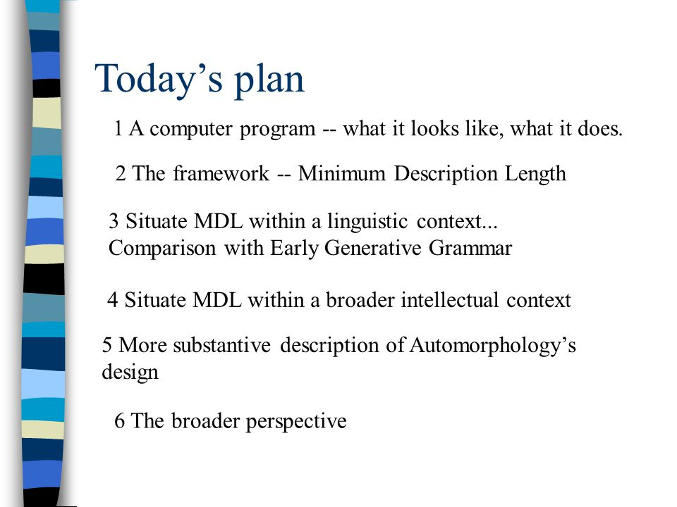 Today's plan 1 A computer program -- what it looks like, what it does.