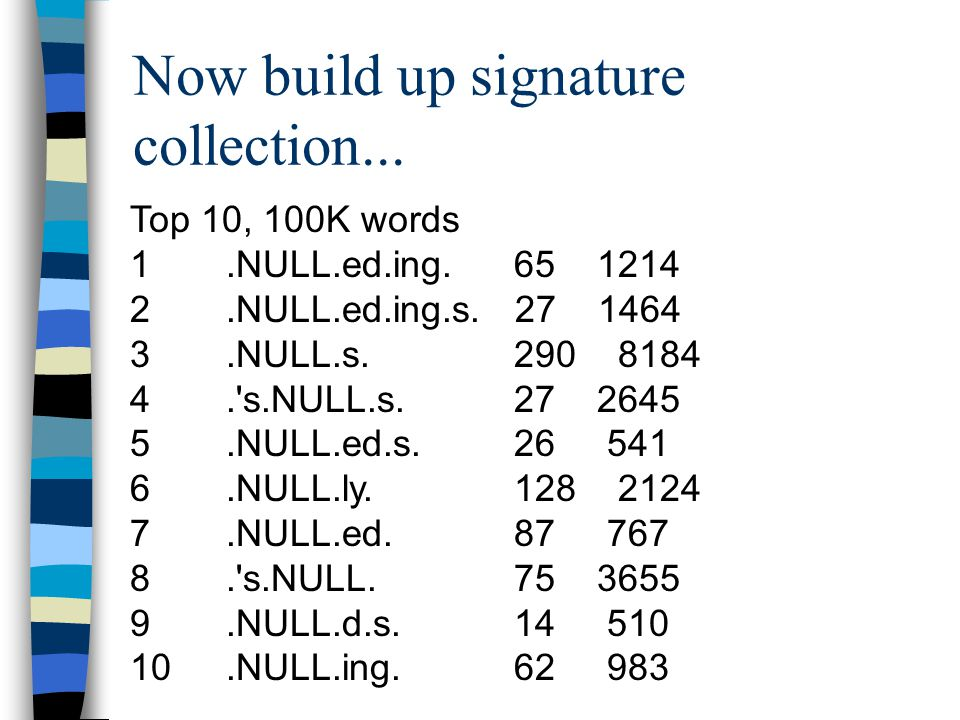 Now build up signature collection... Top 10, 100K words 1.NULL.ed.ing.