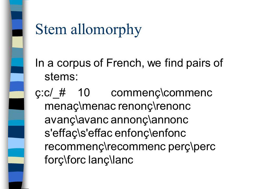 Stem allomorphy In a corpus of French, we find pairs of stems: ç:c/_# 10commenç\commenc menaç\menac renonç\renonc avanç\avanc annonç\annonc s effaç\s effac enfonç\enfonc recommenç\recommenc perç\perc forç\forc lanç\lanc