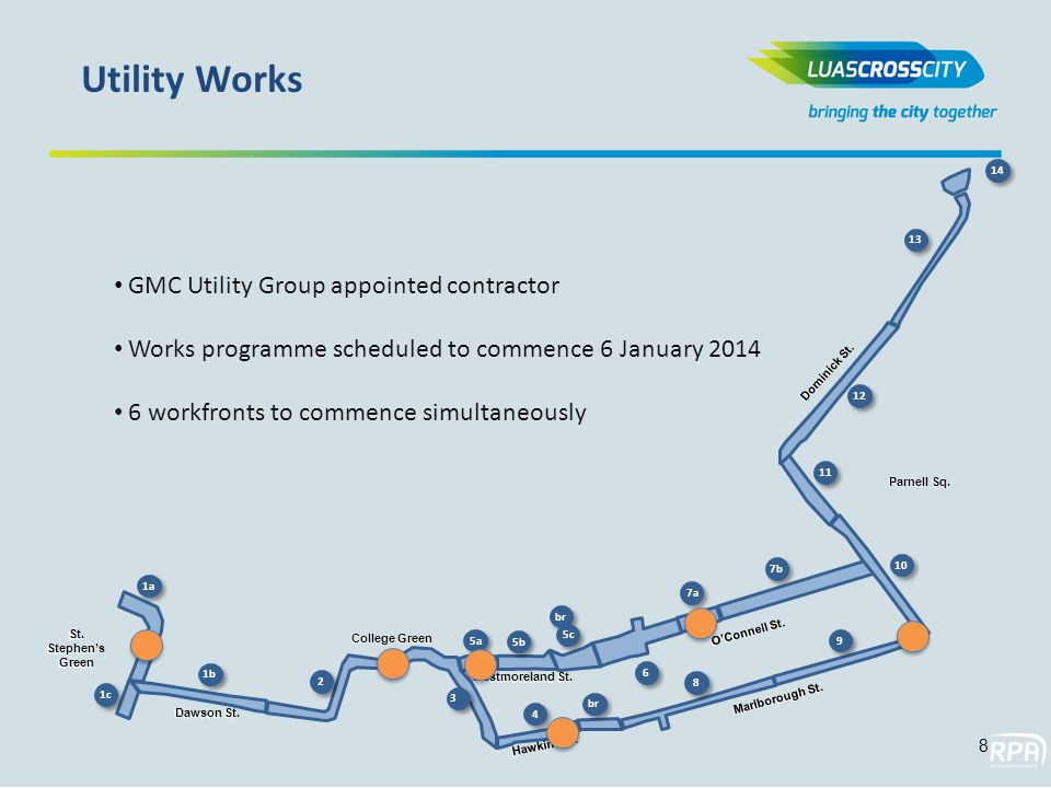 GMC Utility Group appointed contractor Works programme scheduled to commence 6 January 2014 6 workfronts to commence simultaneously Utility Works br Parnell Sq.