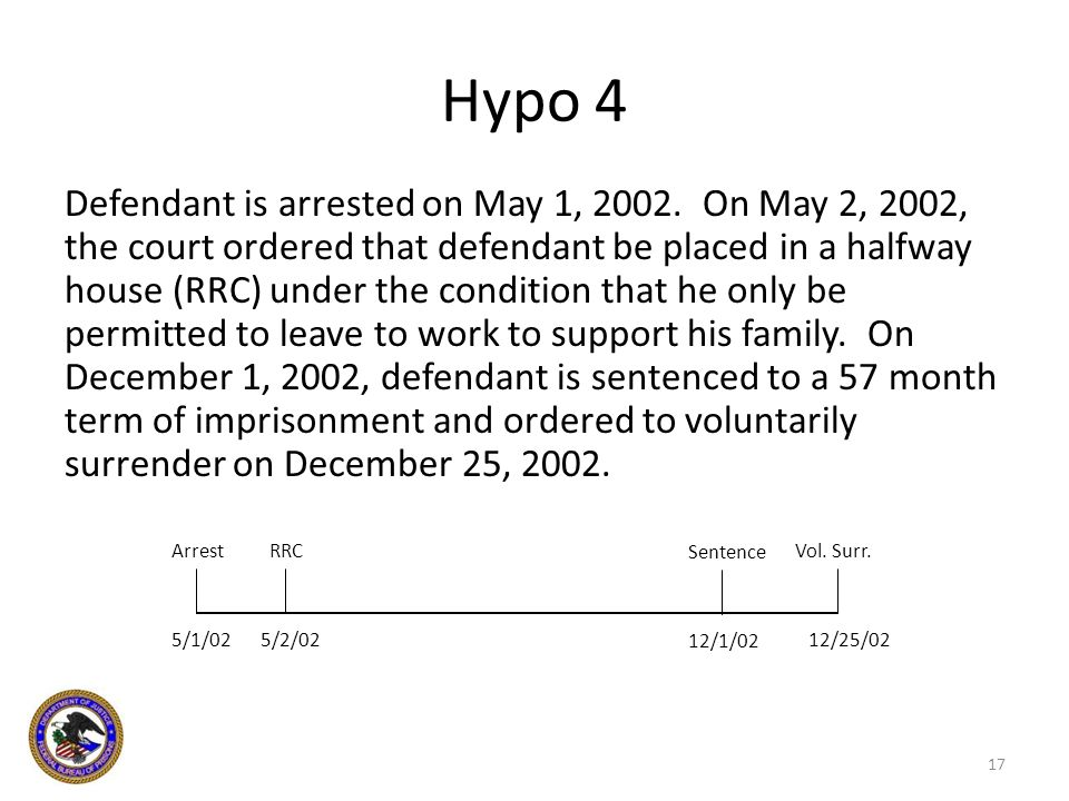 Hypo 4 Defendant is arrested on May 1, 2002. On May 2, 2002, the court ordered that defendant be placed in a halfway house (RRC) under the condition t